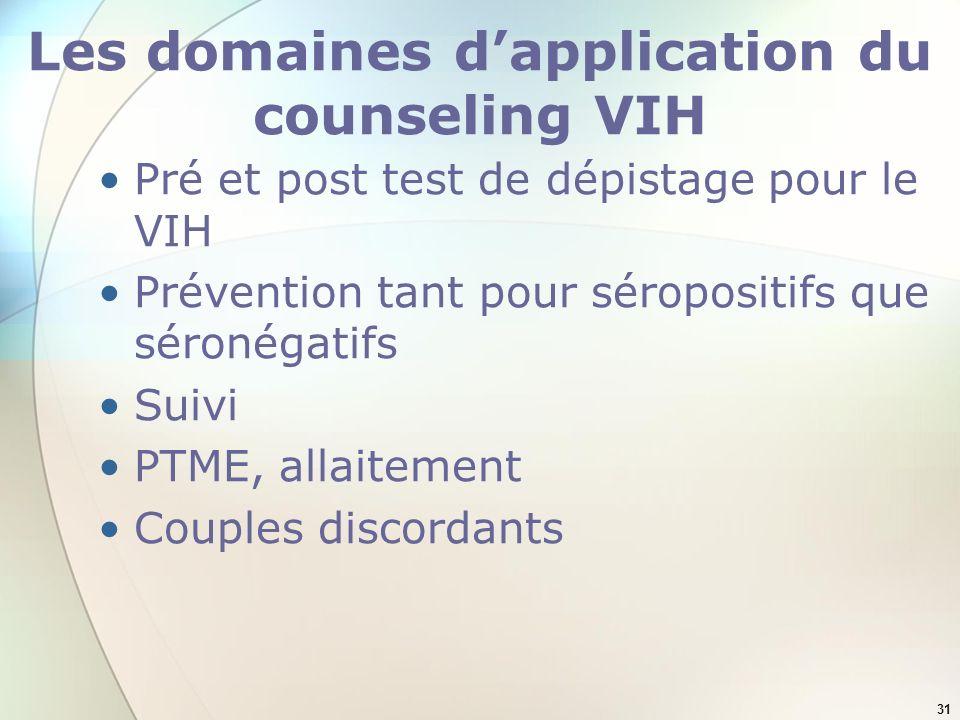 31 Les domaines dapplication du counseling VIH Pré et post test de dépistage pour le VIH Prévention tant pour séropositifs que séronégatifs Suivi PTME, allaitement Couples discordants