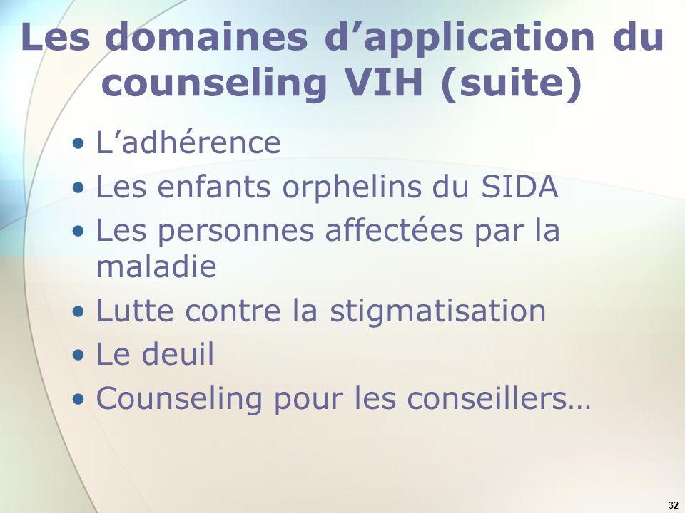32 Les domaines dapplication du counseling VIH (suite) Ladhérence Les enfants orphelins du SIDA Les personnes affectées par la maladie Lutte contre la stigmatisation Le deuil Counseling pour les conseillers…