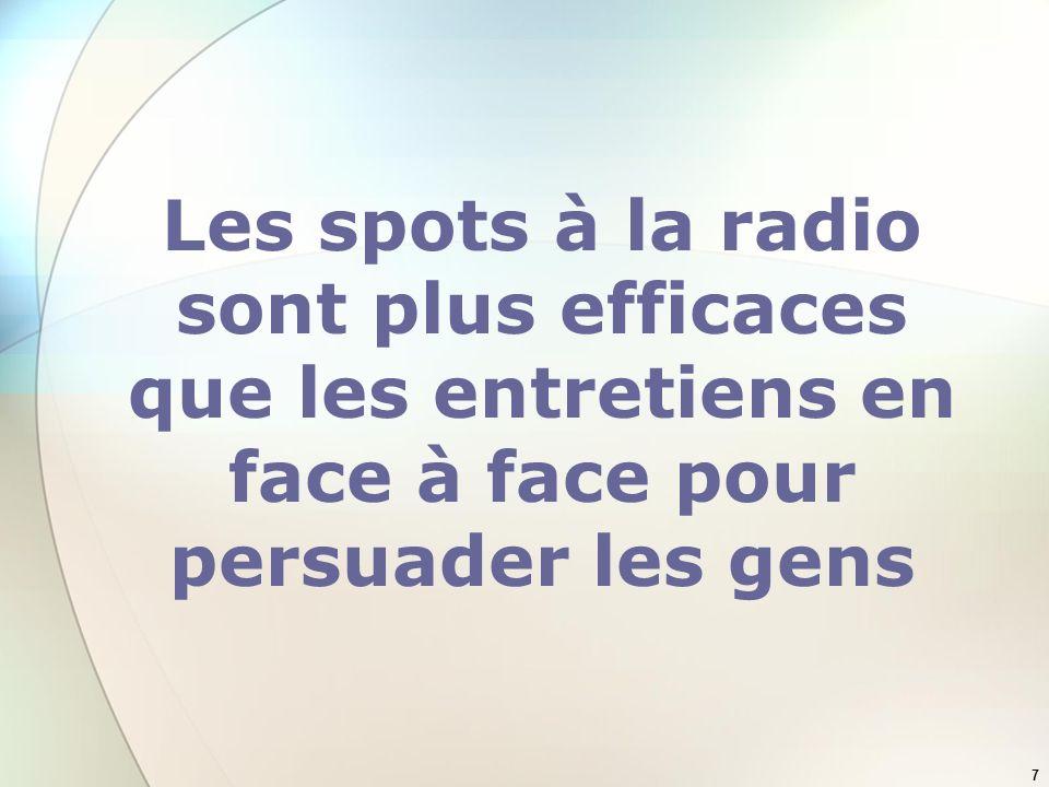 7 Les spots à la radio sont plus efficaces que les entretiens en face à face pour persuader les gens