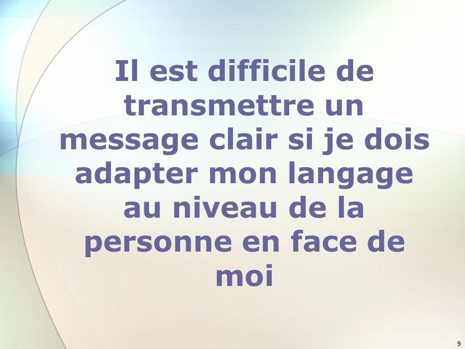 9 Il est difficile de transmettre un message clair si je dois adapter mon langage au niveau de la personne en face de moi