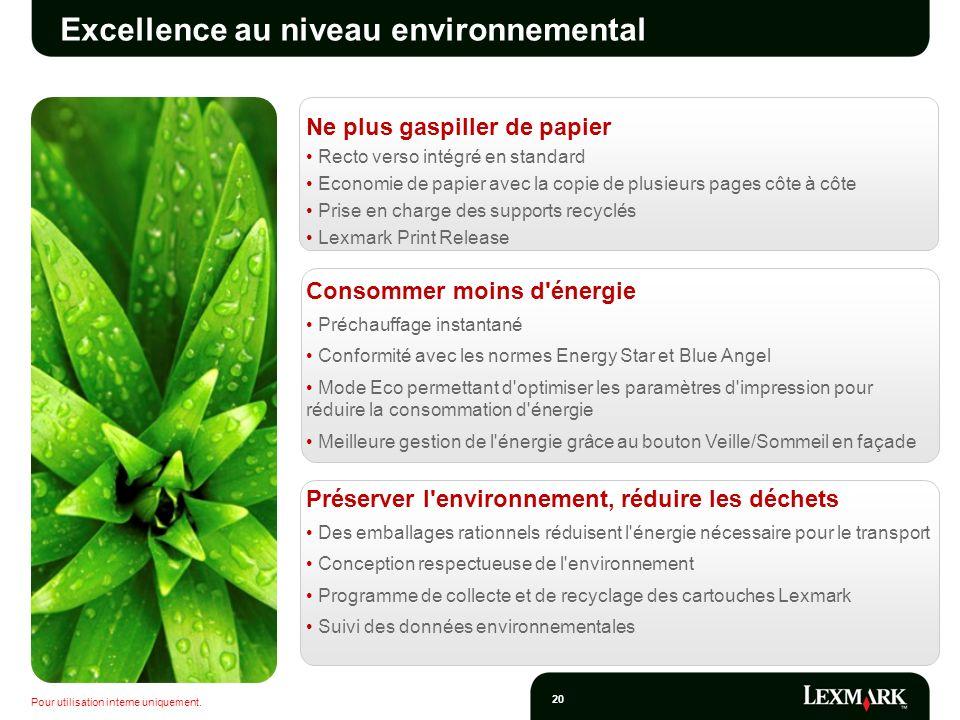Pour utilisation interne uniquement. 20 Excellence au niveau environnemental Ne plus gaspiller de papier Recto verso intégré en standard Economie de p