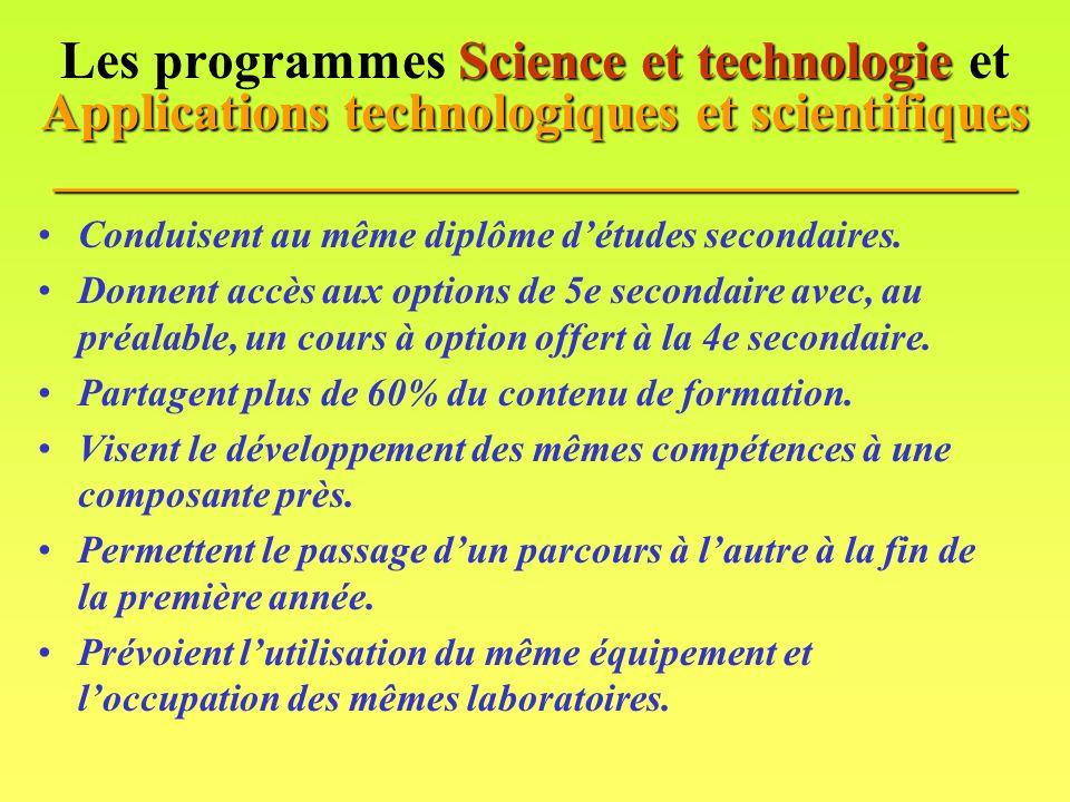 Science et technologie Applications technologiques et scientifiques ____________________________________ Les programmes Science et technologie et Applications technologiques et scientifiques ____________________________________ Conduisent au même diplôme détudes secondaires.