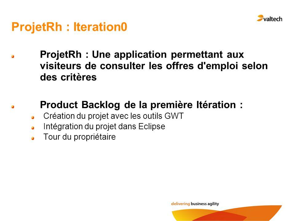 ProjetRh : Iteration0 ProjetRh : Une application permettant aux visiteurs de consulter les offres d'emploi selon des critères Product Backlog de la pr