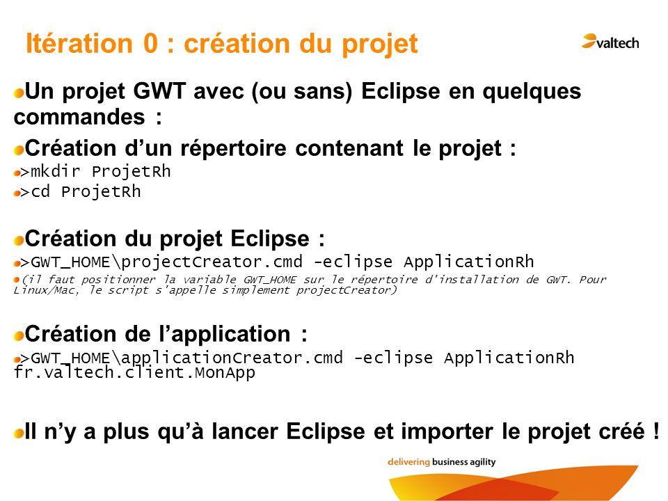 Itération 0 : création du projet Un projet GWT avec (ou sans) Eclipse en quelques commandes : Création dun répertoire contenant le projet : >mkdir Pro