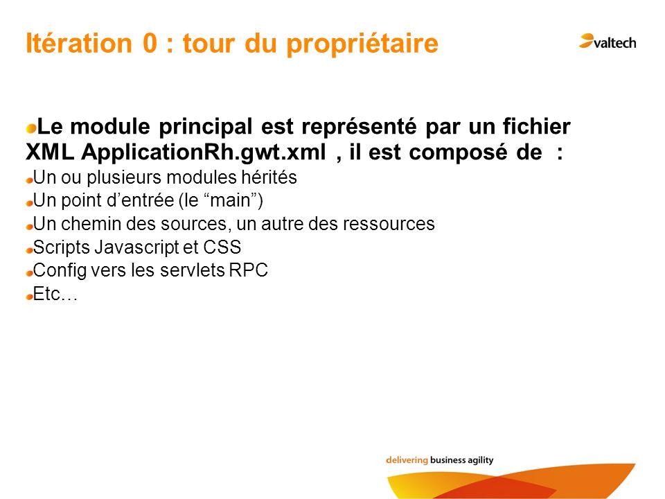 Itération 0 : tour du propriétaire Le module principal est représenté par un fichier XML ApplicationRh.gwt.xml, il est composé de : Un ou plusieurs mo