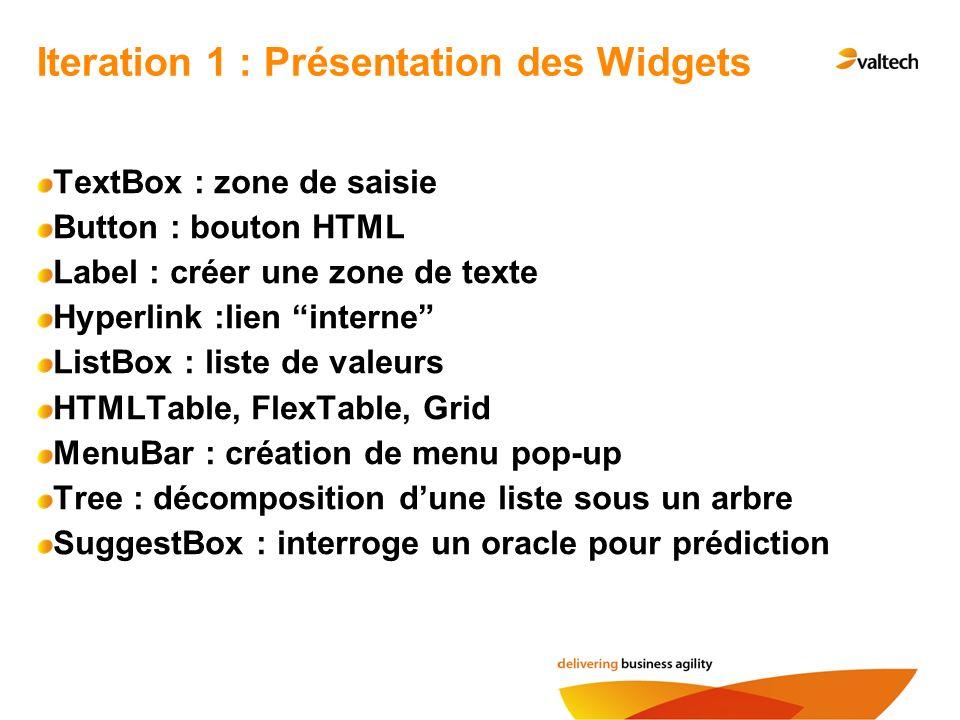 Iteration 1 : Présentation des Widgets TextBox : zone de saisie Button : bouton HTML Label : créer une zone de texte Hyperlink :lien interne ListBox :