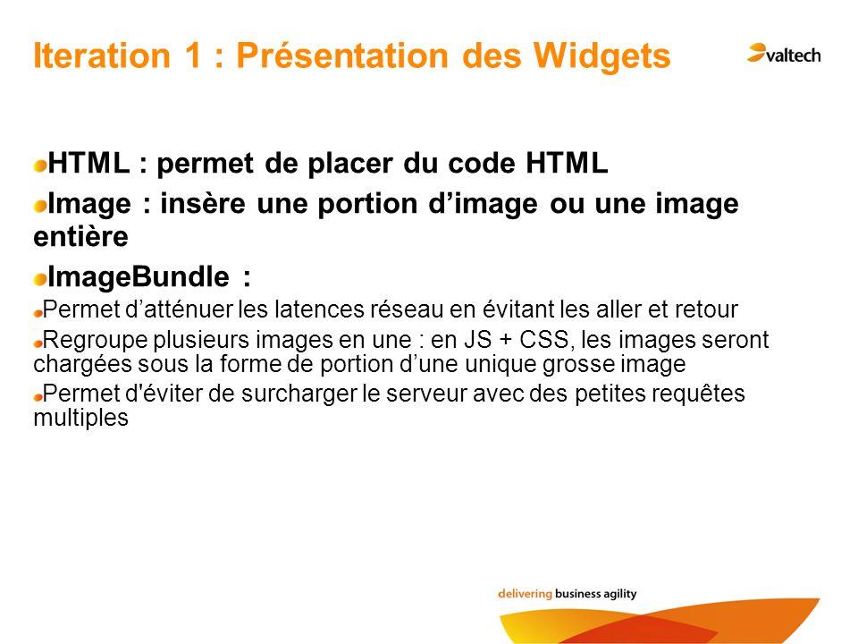 HTML : permet de placer du code HTML Image : insère une portion dimage ou une image entière ImageBundle : Permet datténuer les latences réseau en évit