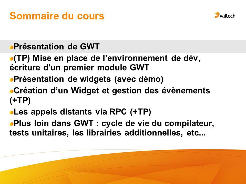 Sommaire du cours Présentation de GWT (TP) Mise en place de lenvironnement de dév, écriture d'un premier module GWT Présentation de widgets (avec démo