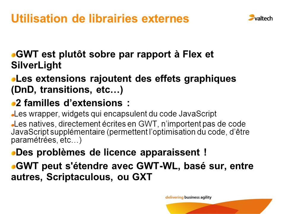 Utilisation de librairies externes GWT est plutôt sobre par rapport à Flex et SilverLight Les extensions rajoutent des effets graphiques (DnD, transit