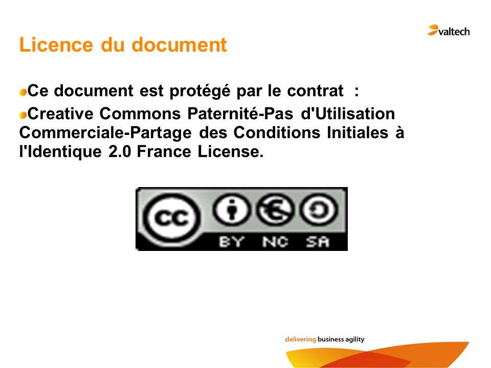 Licence du document Ce document est protégé par le contrat : Creative Commons Paternité-Pas d'Utilisation Commerciale-Partage des Conditions Initiales