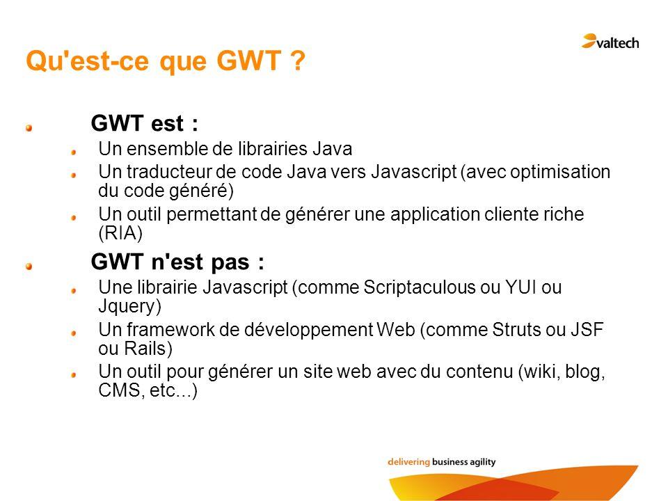 Qu'est-ce que GWT ? GWT est : Un ensemble de librairies Java Un traducteur de code Java vers Javascript (avec optimisation du code généré) Un outil pe