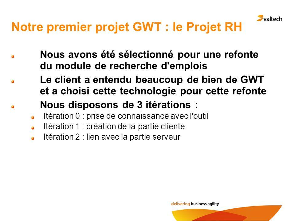 ProjetRh : Iteration0 ProjetRh : Une application permettant aux visiteurs de consulter les offres d emploi selon des critères Product Backlog de la première Itération : Création du projet avec les outils GWT Intégration du projet dans Eclipse Tour du propriétaire