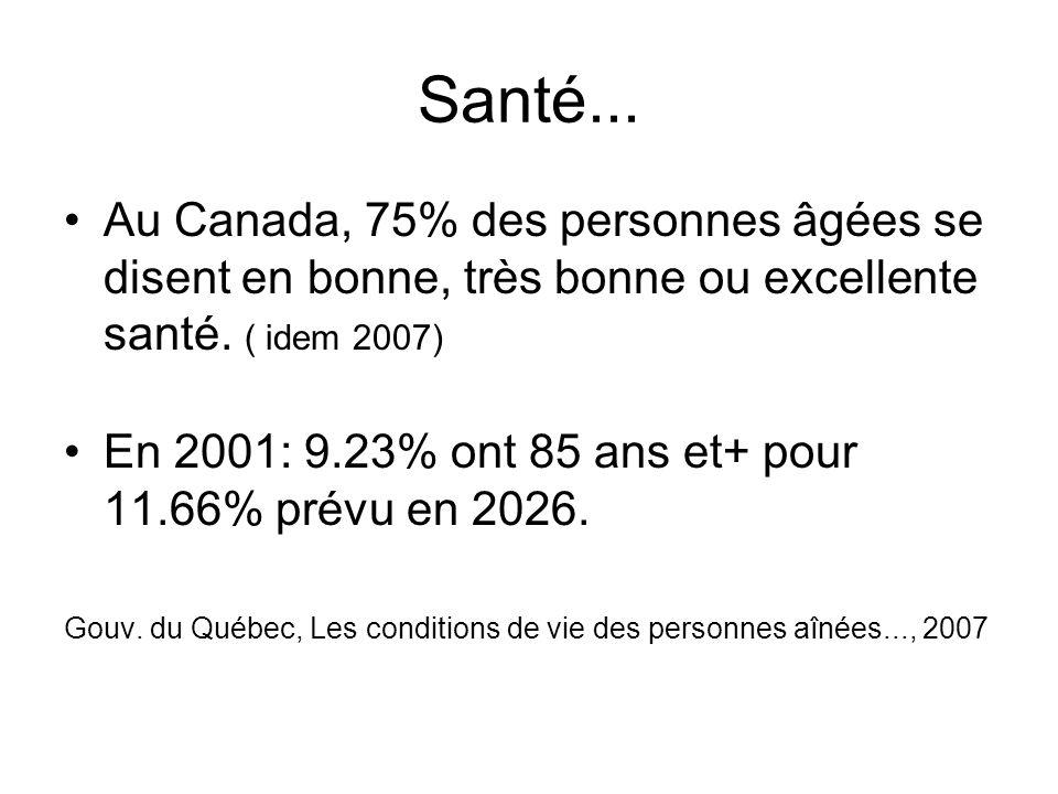 Santé... Au Canada, 75% des personnes âgées se disent en bonne, très bonne ou excellente santé. ( idem 2007) En 2001: 9.23% ont 85 ans et+ pour 11.66%