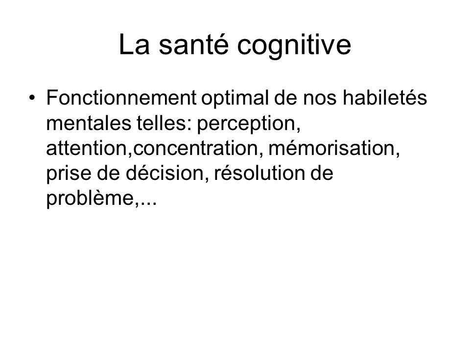 La santé cognitive Fonctionnement optimal de nos habiletés mentales telles: perception, attention,concentration, mémorisation, prise de décision, réso