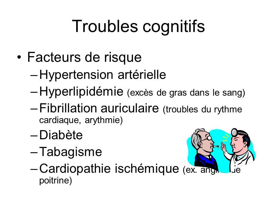Troubles cognitifs Facteurs de risque –Hypertension artérielle –Hyperlipidémie (excès de gras dans le sang) –Fibrillation auriculaire (troubles du ryt