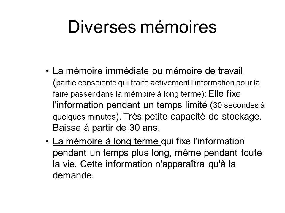 Diverses mémoires La mémoire immédiate ou mémoire de travail ( partie consciente qui traite activement linformation pour la faire passer dans la mémoi