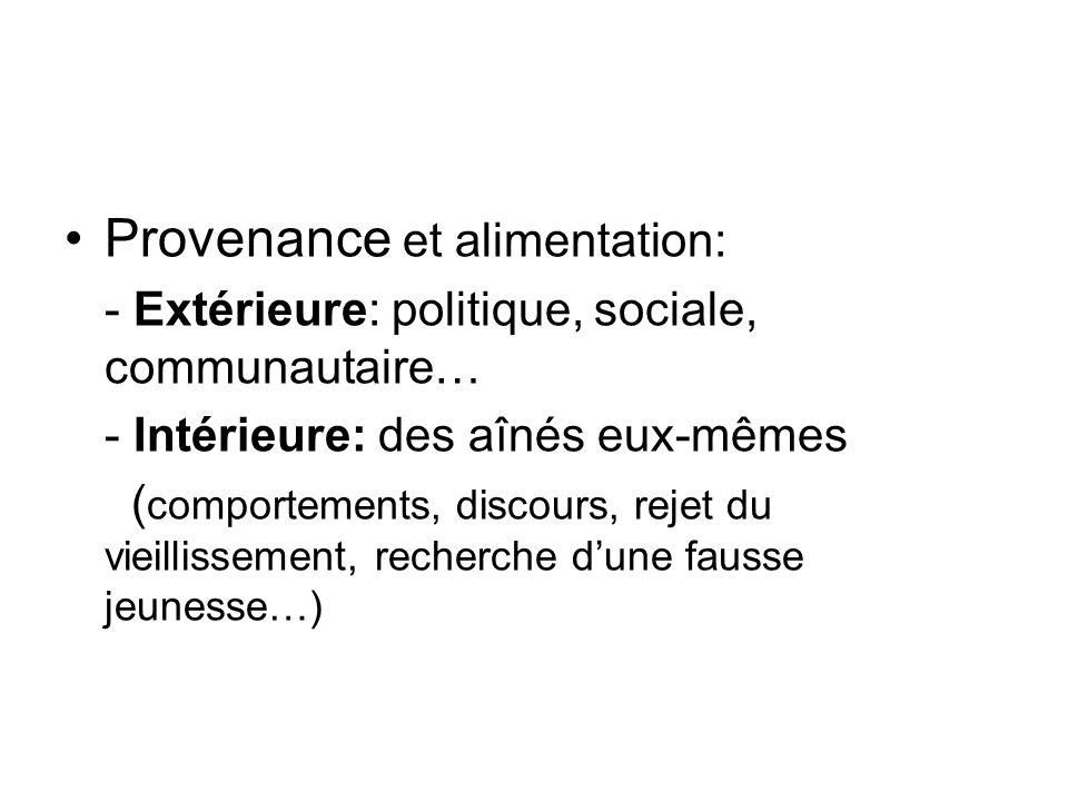 Provenance et alimentation: - Extérieure: politique, sociale, communautaire… - Intérieure: des aînés eux-mêmes ( comportements, discours, rejet du vie