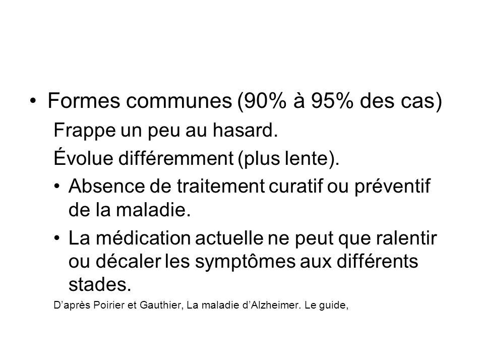 Formes communes (90% à 95% des cas) Frappe un peu au hasard. Évolue différemment (plus lente). Absence de traitement curatif ou préventif de la maladi