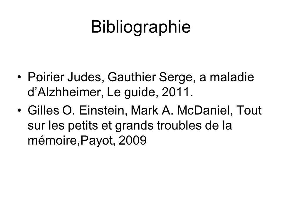Bibliographie Poirier Judes, Gauthier Serge, a maladie dAlzhheimer, Le guide, 2011. Gilles O. Einstein, Mark A. McDaniel, Tout sur les petits et grand