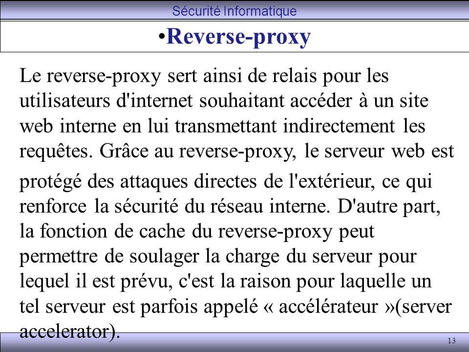 13 Reverse-proxy Le reverse-proxy sert ainsi de relais pour les utilisateurs d internet souhaitant accéder à un site web interne en lui transmettant indirectement les requêtes.