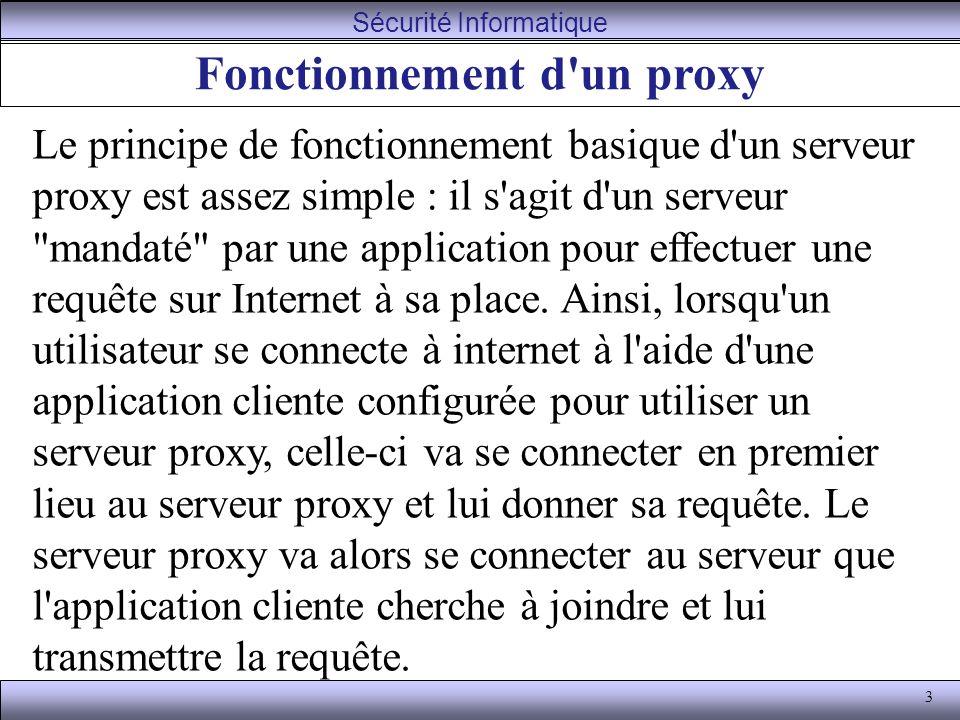 3 Fonctionnement d un proxy Le principe de fonctionnement basique d un serveur proxy est assez simple : il s agit d un serveur mandaté par une application pour effectuer une requête sur Internet à sa place.