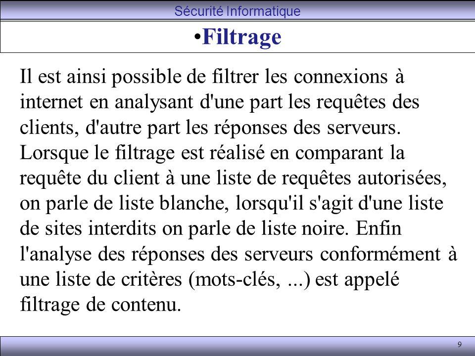 9 Filtrage Il est ainsi possible de filtrer les connexions à internet en analysant d une part les requêtes des clients, d autre part les réponses des serveurs.