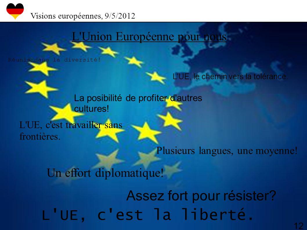 L'Union Européenne pour nous Réunis dans la diversité! La posibilité de profiter d'autres cultures! L'UE, c'est travailler sans frontières. L'UE, c'es