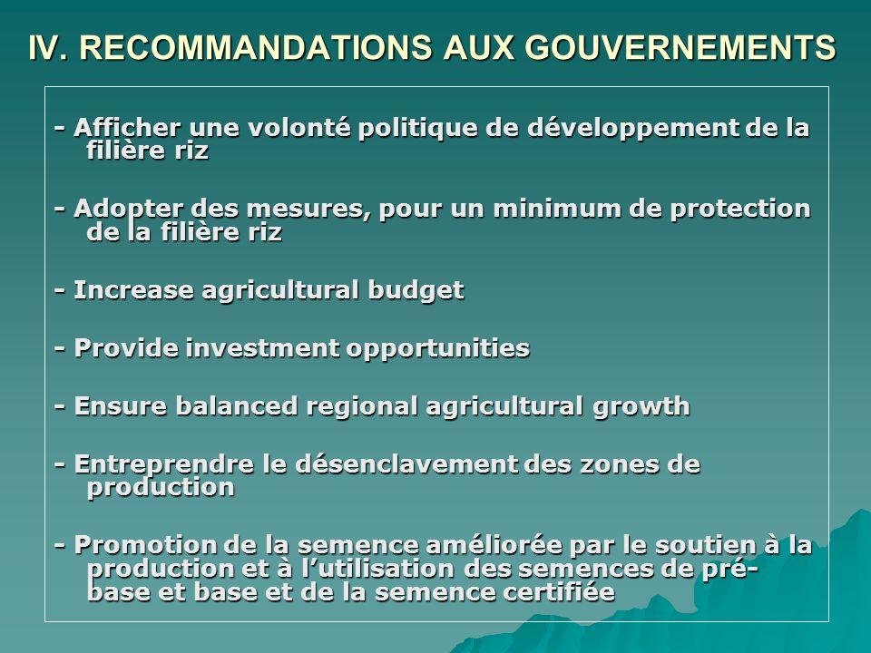 IV. RECOMMANDATIONS AUX GOUVERNEMENTS - Afficher une volonté politique de développement de la filière riz - Adopter des mesures, pour un minimum de pr