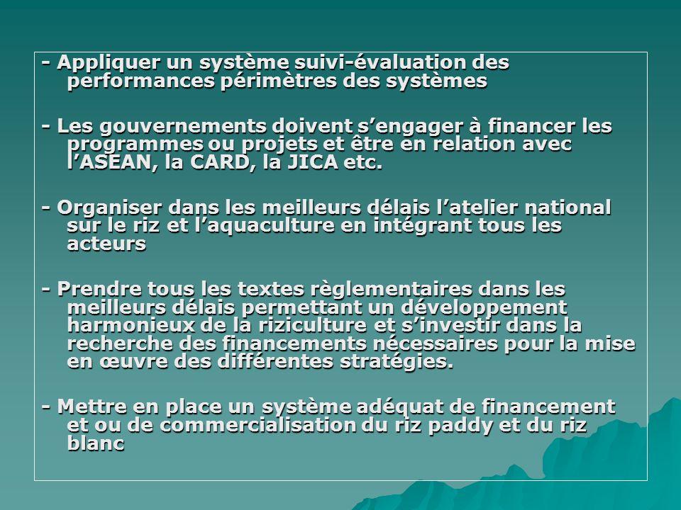 - Appliquer un système suivi-évaluation des performances périmètres des systèmes - Les gouvernements doivent sengager à financer les programmes ou pro