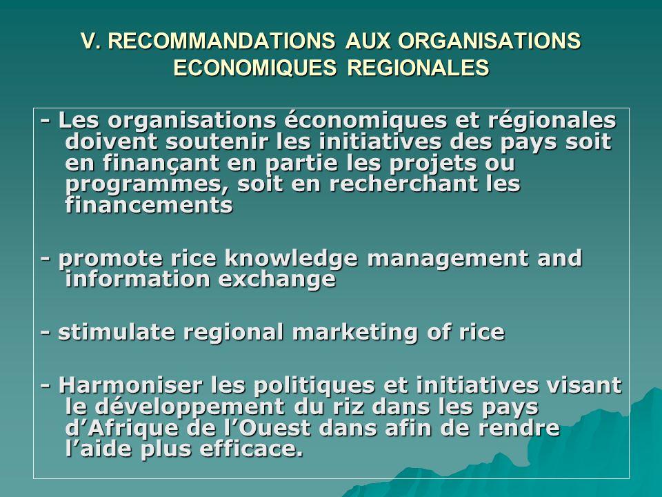 V. RECOMMANDATIONS AUX ORGANISATIONS ECONOMIQUES REGIONALES - Les organisations économiques et régionales doivent soutenir les initiatives des pays so