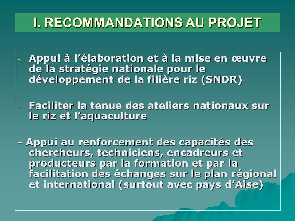 I. RECOMMANDATIONS AU PROJET - Appui à lélaboration et à la mise en œuvre de la stratégie nationale pour le développement de la filière riz (SNDR) - F