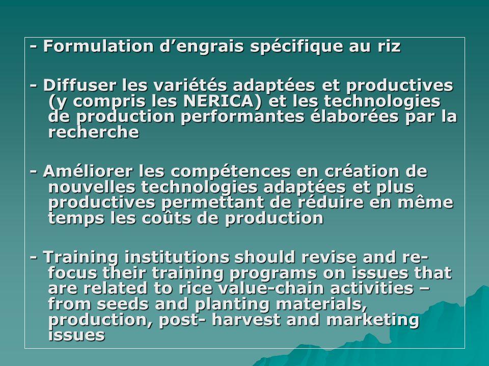 - Formulation dengrais spécifique au riz - Diffuser les variétés adaptées et productives (y compris les NERICA) et les technologies de production perf