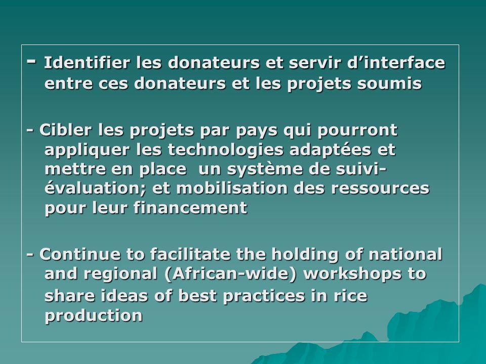 - Identifier les donateurs et servir dinterface entre ces donateurs et les projets soumis - Cibler les projets par pays qui pourront appliquer les tec