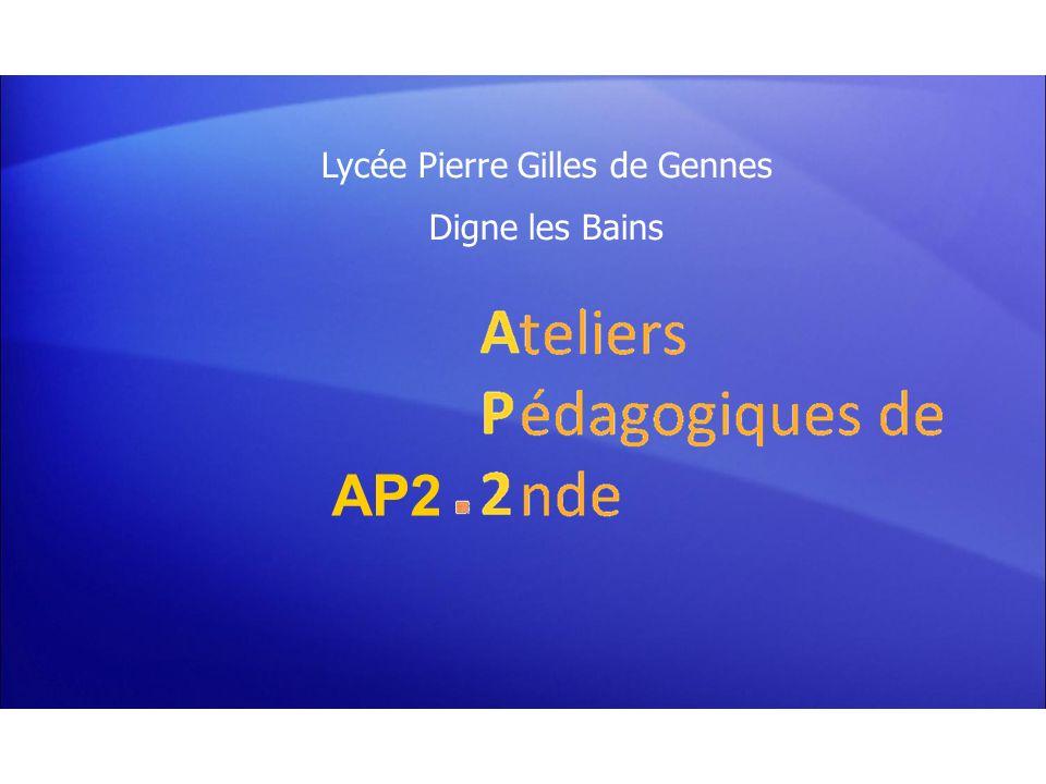 Les Ateliers Pédagogiques de 2nde (AP2) Lycée Pierre Gilles de Gennes – Digne les bains Constats et perspectives Labsence dévaluation sommative gêne certains.