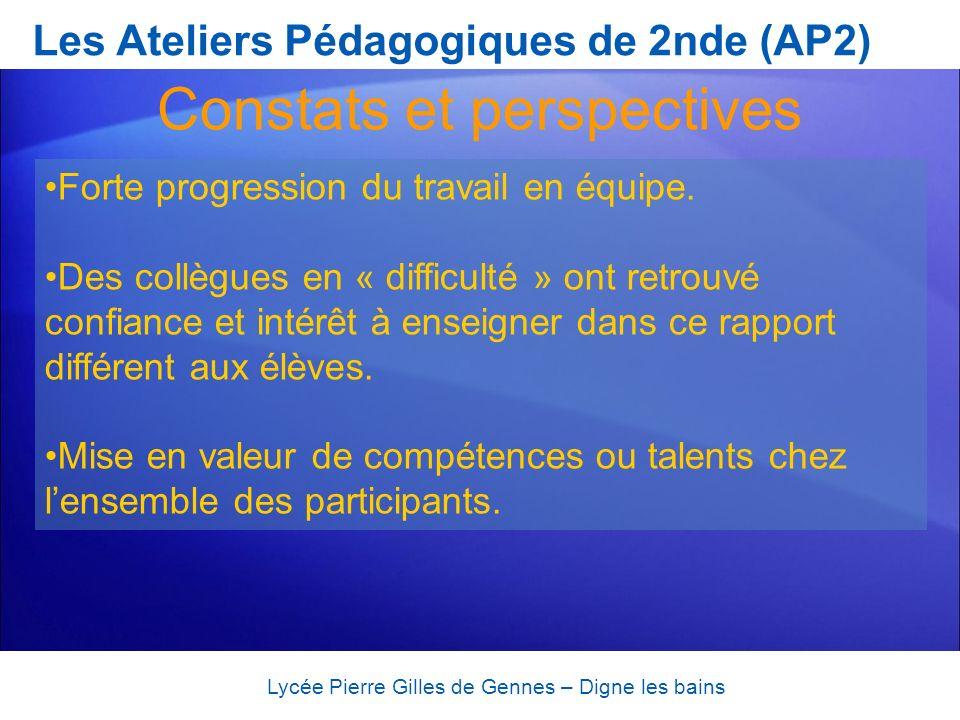 Les Ateliers Pédagogiques de 2nde (AP2) Lycée Pierre Gilles de Gennes – Digne les bains Forte progression du travail en équipe. Des collègues en « dif