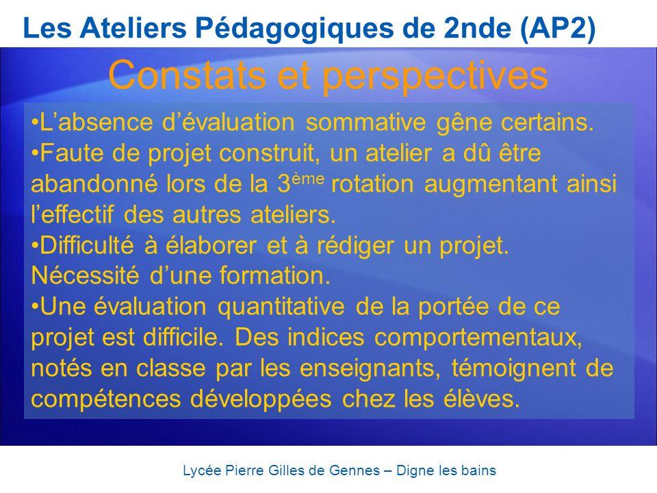 Les Ateliers Pédagogiques de 2nde (AP2) Lycée Pierre Gilles de Gennes – Digne les bains Constats et perspectives Labsence dévaluation sommative gêne c