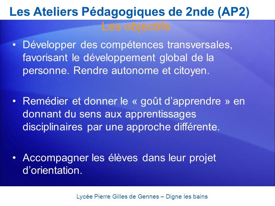 Les Ateliers Pédagogiques de 2nde (AP2) Développer des compétences transversales, favorisant le développement global de la personne. Rendre autonome e