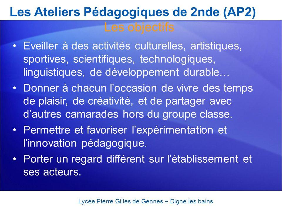 Les Ateliers Pédagogiques de 2nde (AP2) Eveiller à des activités culturelles, artistiques, sportives, scientifiques, technologiques, linguistiques, de