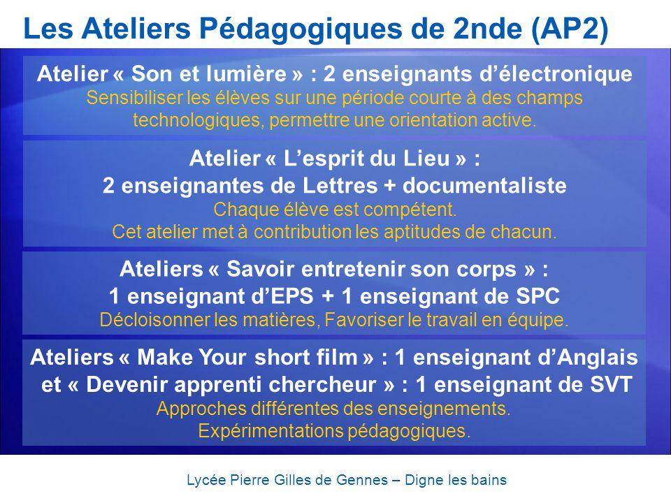 Les Ateliers Pédagogiques de 2nde (AP2) Lycée Pierre Gilles de Gennes – Digne les bains 2 Ateliers « Loutil informatique en Mathématiques » : 3 enseignants de Mathématiques Utilisation des TICE.