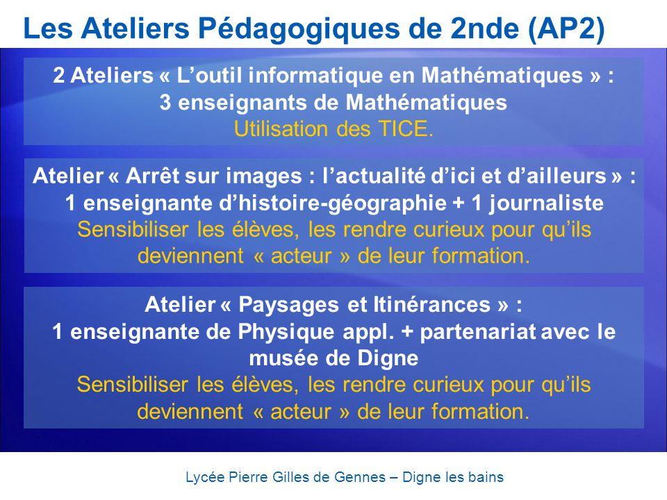 Les Ateliers Pédagogiques de 2nde (AP2) Lycée Pierre Gilles de Gennes – Digne les bains 2 Ateliers « Loutil informatique en Mathématiques » : 3 enseig