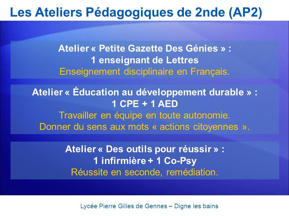 Les Ateliers Pédagogiques de 2nde (AP2) Lycée Pierre Gilles de Gennes – Digne les bains Atelier « Petite Gazette Des Génies » : 1 enseignant de Lettre