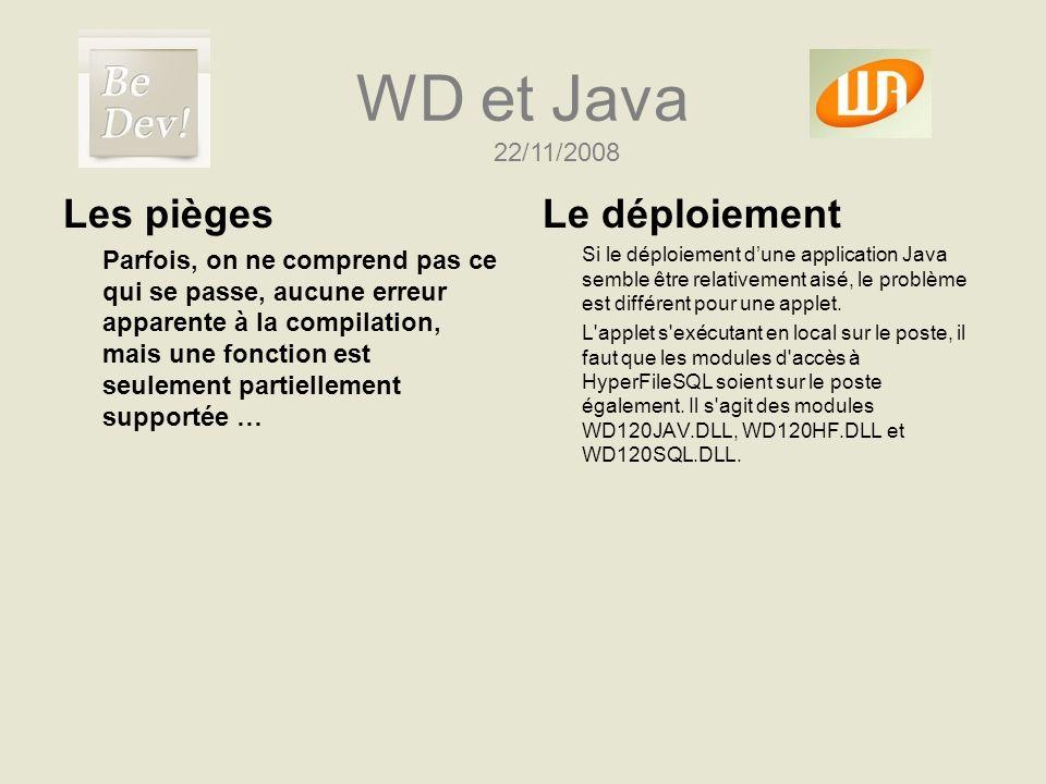 WD et Java Les pièges Parfois, on ne comprend pas ce qui se passe, aucune erreur apparente à la compilation, mais une fonction est seulement partielle