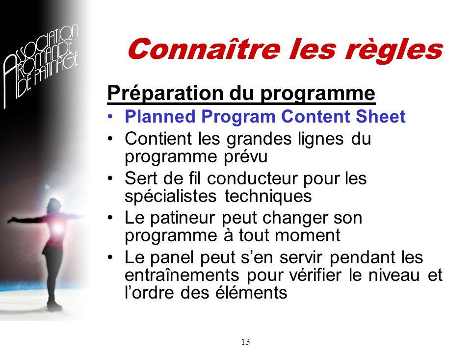 13 Connaître les règles Préparation du programme Planned Program Content Sheet Contient les grandes lignes du programme prévu Sert de fil conducteur pour les spécialistes techniques Le patineur peut changer son programme à tout moment Le panel peut sen servir pendant les entraînements pour vérifier le niveau et lordre des éléments