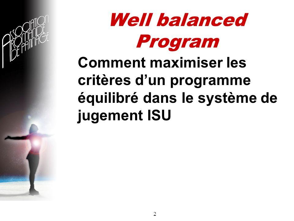 2 Well balanced Program Comment maximiser les critères dun programme équilibré dans le système de jugement ISU