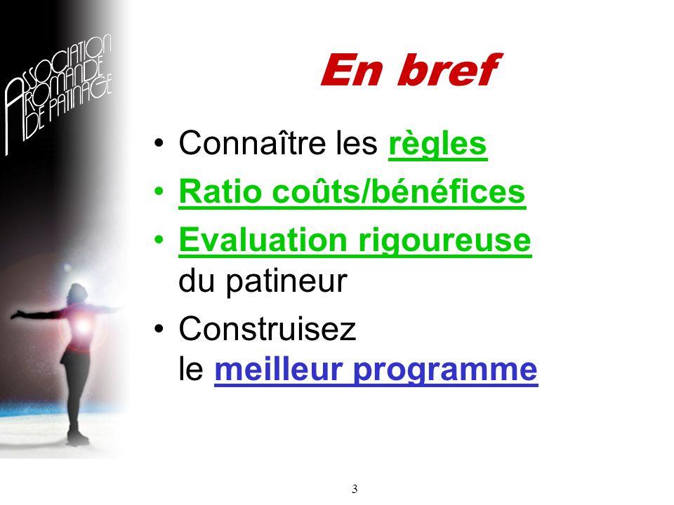 3 En bref Connaître les règles Ratio coûts/bénéfices Evaluation rigoureuse du patineur Construisez le meilleur programme