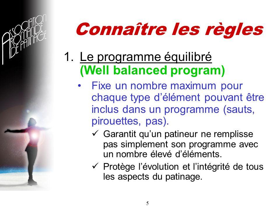 5 Connaître les règles 1.Le programme équilibré (Well balanced program) Fixe un nombre maximum pour chaque type délément pouvant être inclus dans un programme (sauts, pirouettes, pas).