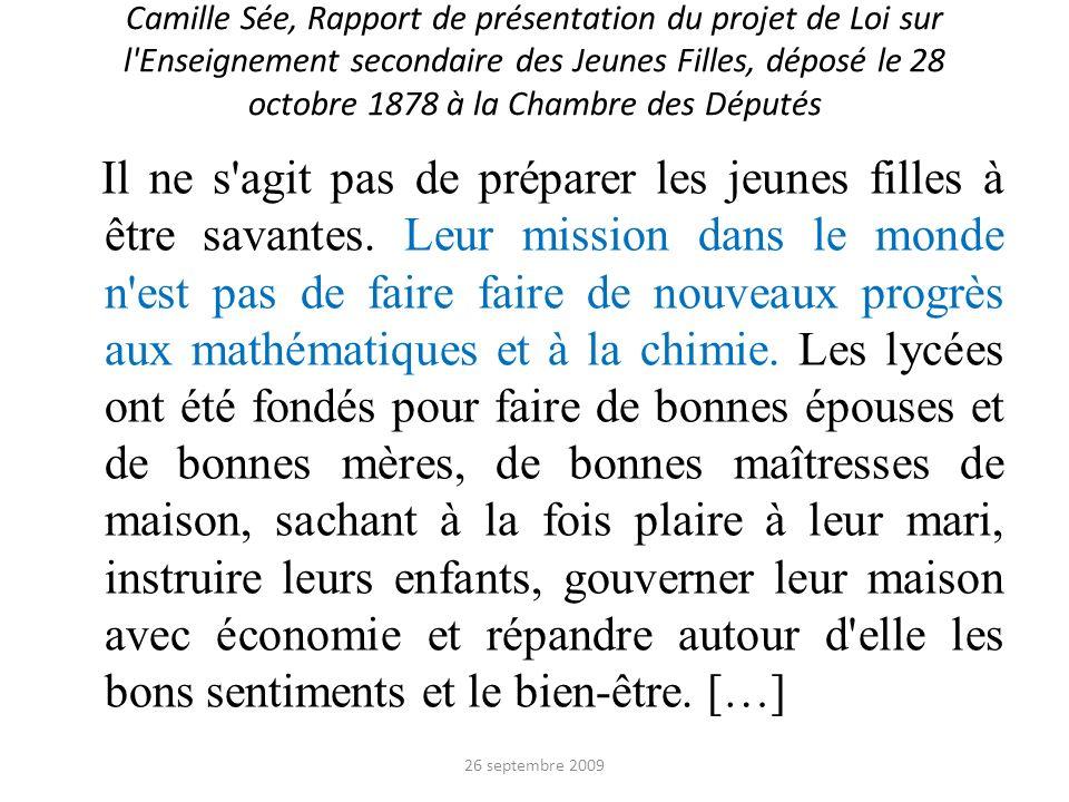 Camille Sée, Rapport de présentation du projet de Loi sur l'Enseignement secondaire des Jeunes Filles, déposé le 28 octobre 1878 à la Chambre des Dépu