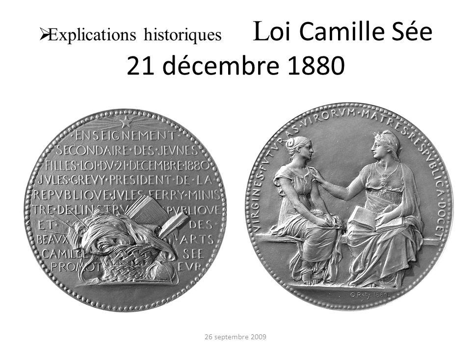 Explications historiques L oi Camille Sée 21 décembre 1880 26 septembre 2009
