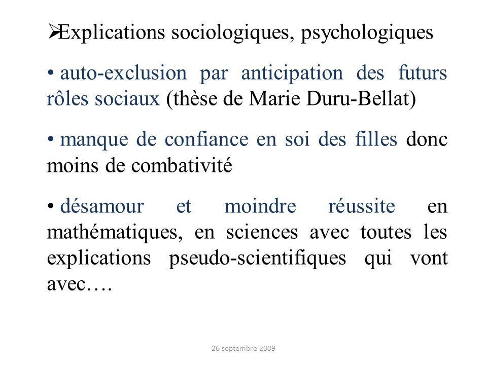 Explications sociologiques, psychologiques auto-exclusion par anticipation des futurs rôles sociaux (thèse de Marie Duru-Bellat) manque de confiance e