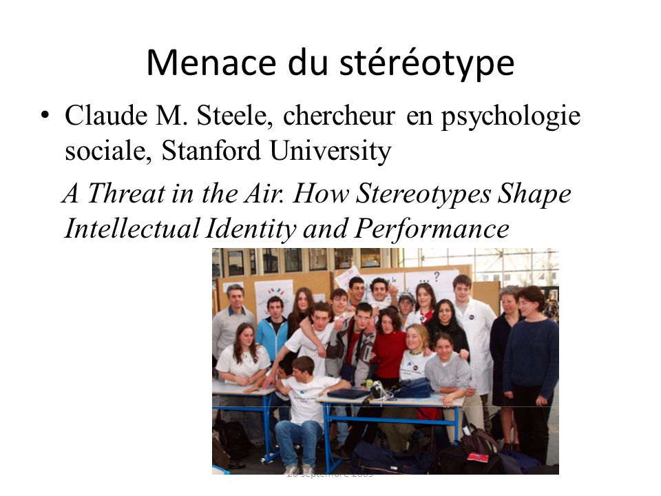 Menace du stéréotype Claude M.
